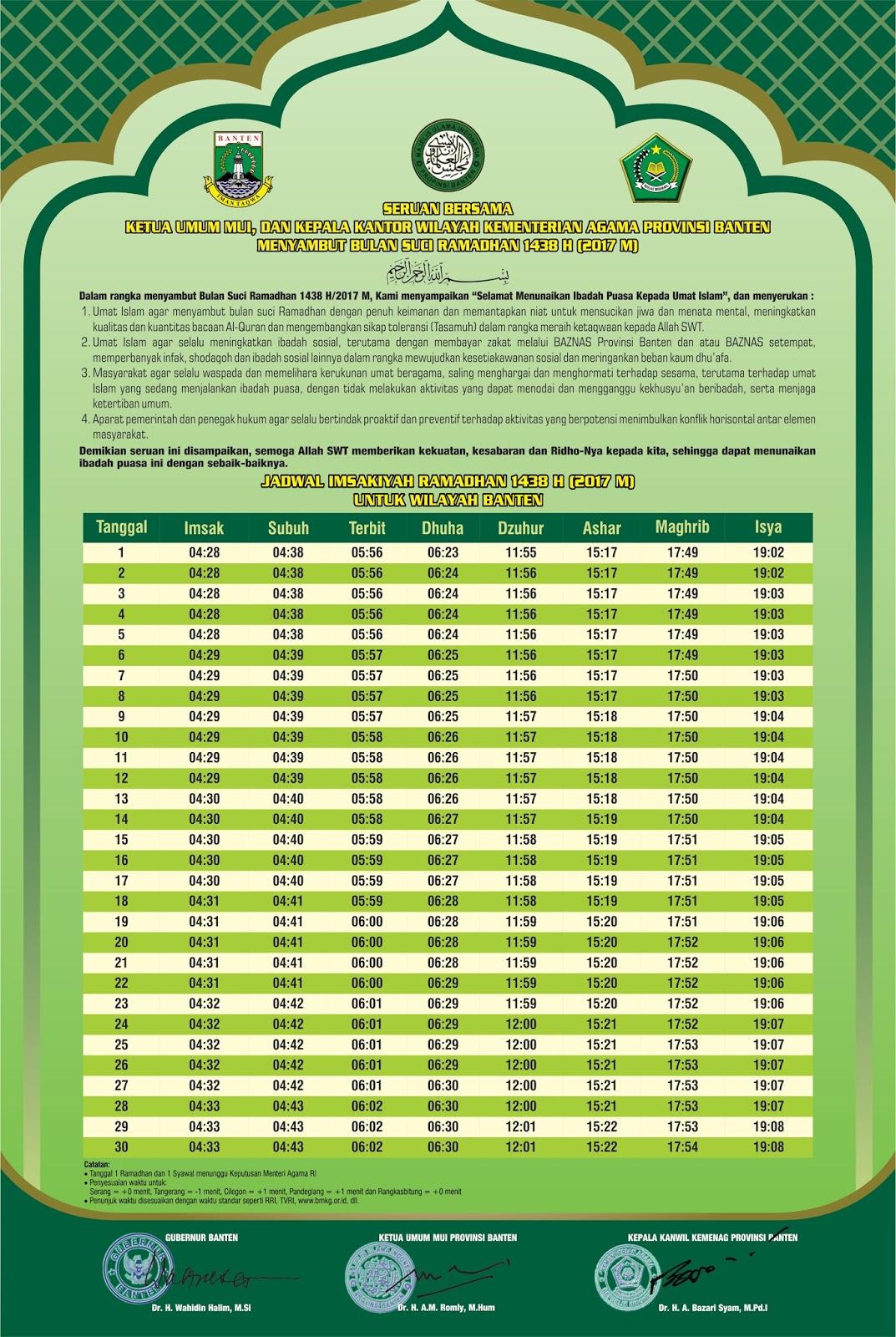 Jadwal Imsakiyah Ramadhan 1438 H Untuk Propinsi Banten ...