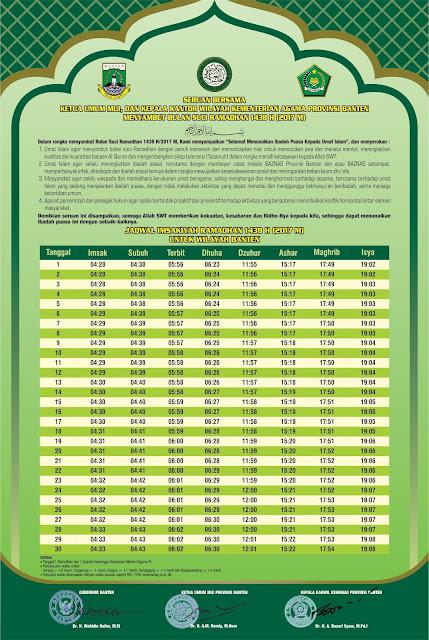 Jadwal Imsakiyah Ramadhan 1438 H Untuk Propinsi Banten