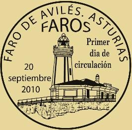 Matasellos PDC del sello dedicado a Avilés de la serie Faros 2010