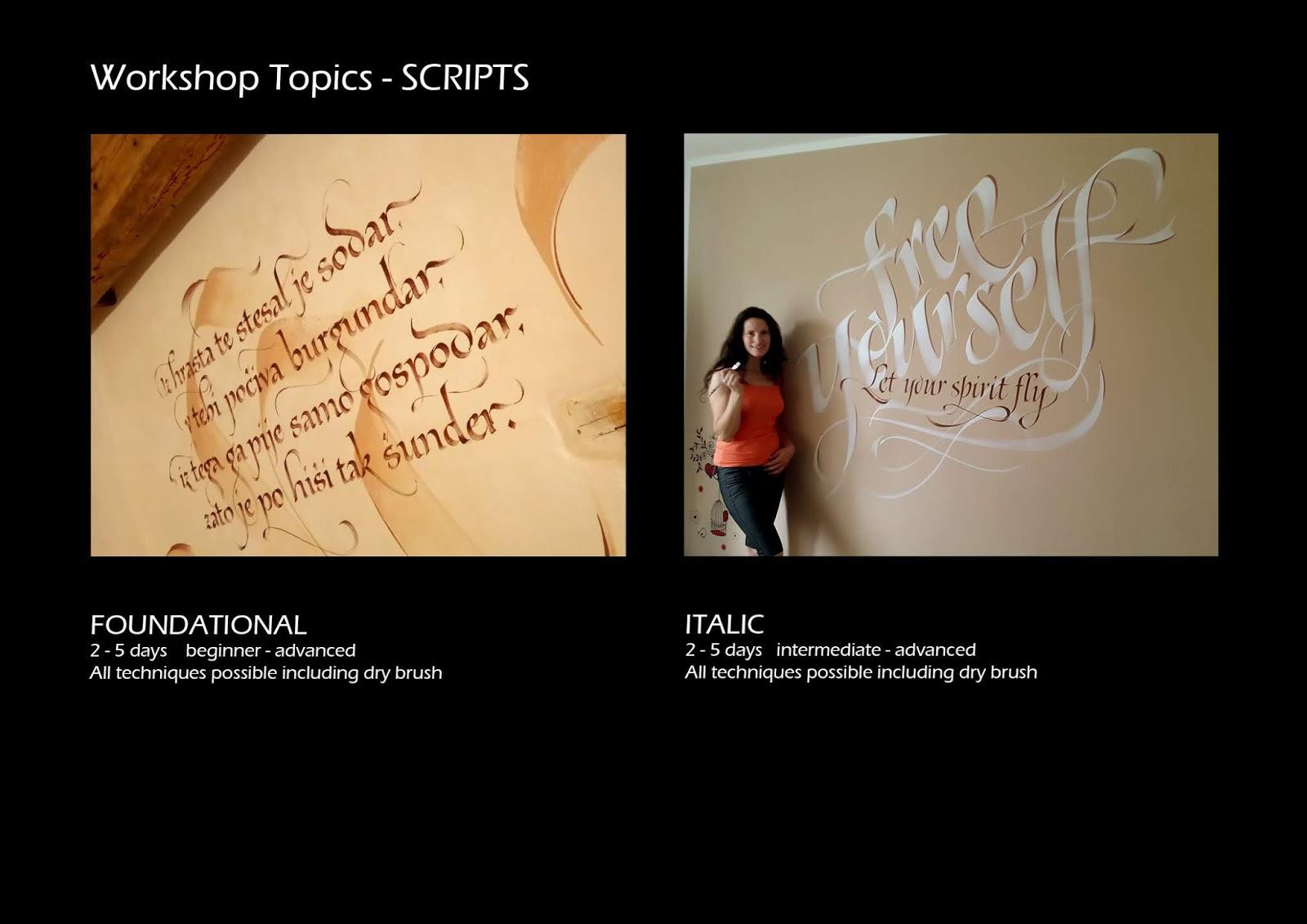 Calligraphy By Loredana Zega Workshop Topics