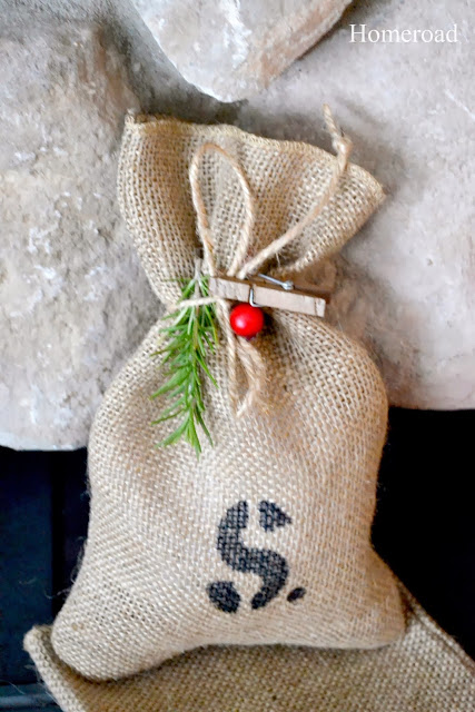 burlap gift bag with S stencil