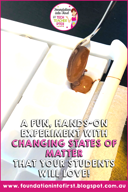 Changing states of matter. Teach this fun experiment to Year 3 students with this downloadable lesson plan, worksheets, posters and more.  #techteacherpto3 #teaching #science #experiments #elementary