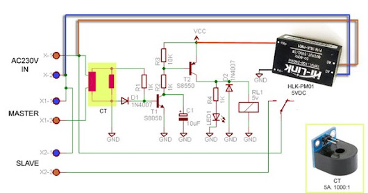 Circuit Schematic Smart Master/Slave Switch using SMPS Module 5-V/3-W Type (HLK-PM01)