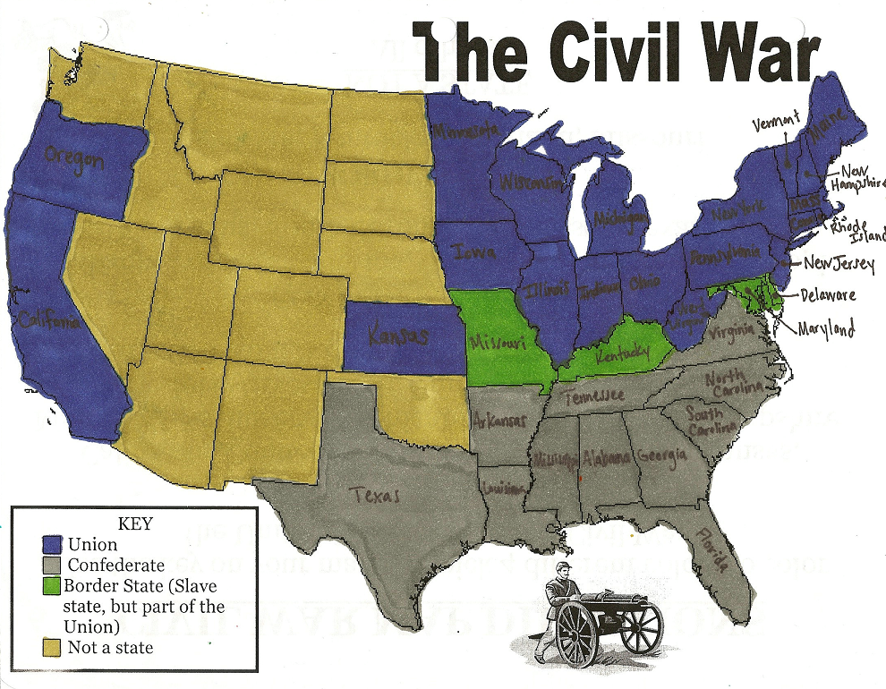 Map Of The Us During The Civil War - Us map before civil war