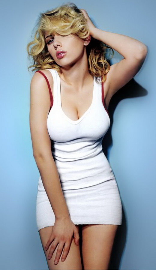 Scarlett Johansson Wearing A Skin Tight Sexy White Dress With Full Red Lips Absolutely Sumptuous Breasts Blonde Hair With Dark Roots Long Legs