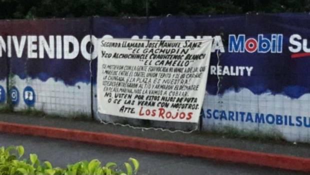 """Aparece """"narcomanta"""" contra Cuauhtémoc Blanco  firmado por Los Rojos aseguran entrego plaza al Cártel de Tepito en Cuernavaca"""