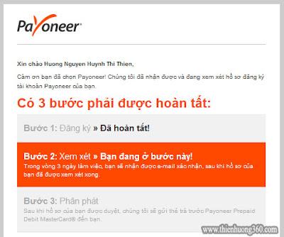 Hình 4.3: Email thông báo Payoneer đang xem xét đơn đăng ký của bạn