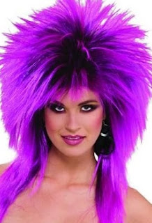 1980s Purple Hair Wig - Rock Heavy Metal Guitar a Punk Girl or Pop ...