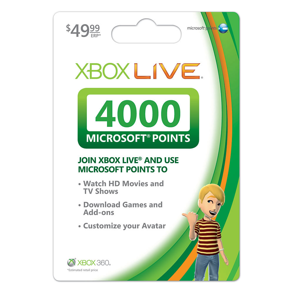 4000 Microsoft Points MSP MP Code Xbox Live 360 US VERSION ...