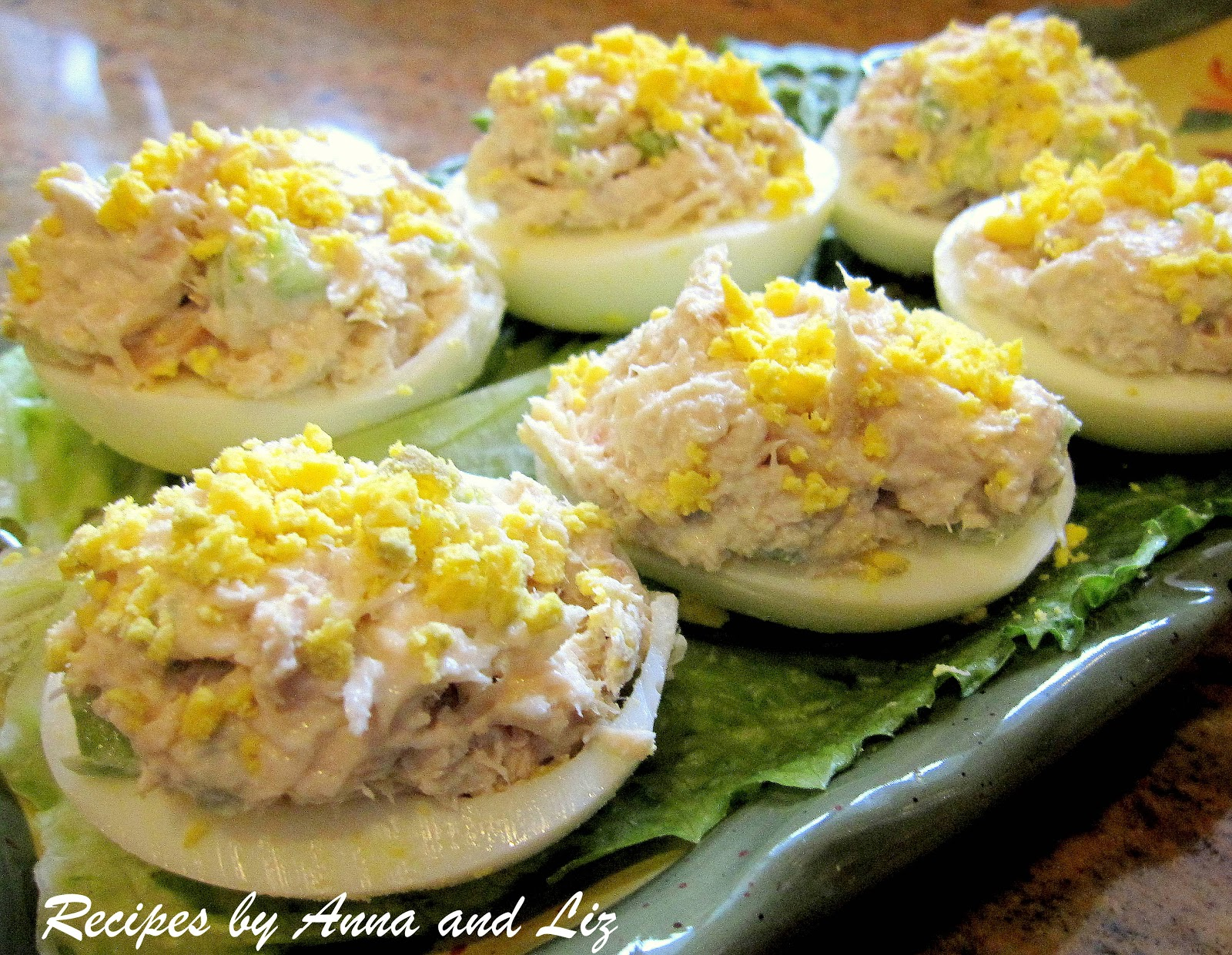 Tuna stuffed deviled eggs 2 sisters recipes by anna and liz for Tuna fish salad recipe with egg