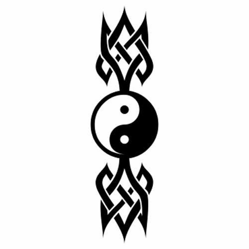 Yin Yang Celtic knot tattoo stencil