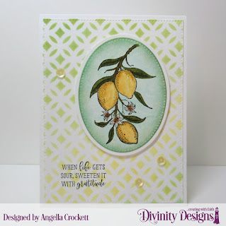 Divinity Designs Stamp Set: Lemon Branch, Mixed Media Stencil: Circles, Custom Dies: Pierced Ovals, Ovals, Pierced Rectangles