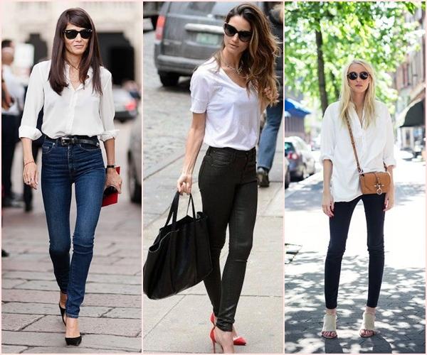 camisa branca e calça skynni ou cintura alta