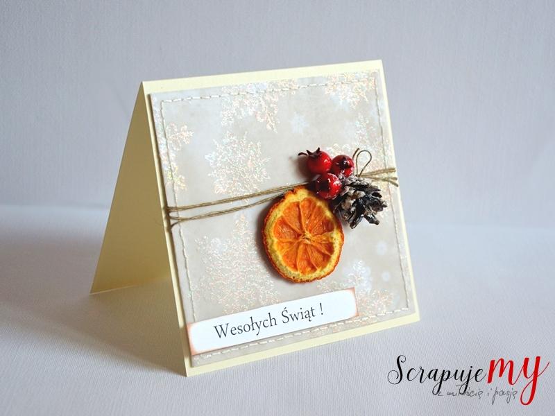 świąteczna kartka z pomarańczą, kartka z szyszką, kartka w pudełku, Boże Narodzenie, kartka świąteczna