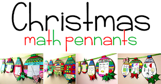 Looking for a fun Christmas math activity? The holiday math pennant activities in this post allow students to practice their math, get a little creative and add to their math classroom decorations! Ideas for elementary school, including fractions, and middle and high school, including graphing linear equations and solving equations.