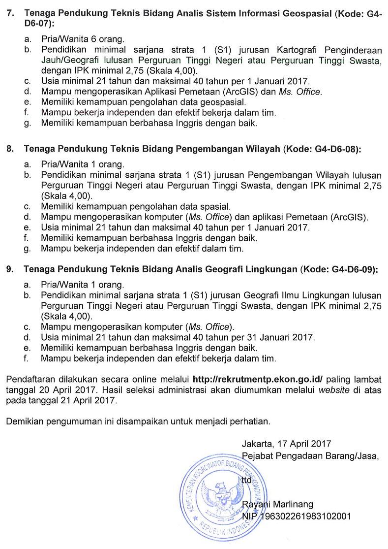 Rekrutmen Non CPNS Kemenko Perekonomian TA 2017 Gelombang IV