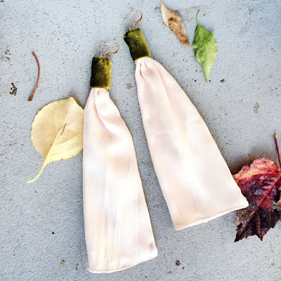 Shop this blush silk and velvet earrings!