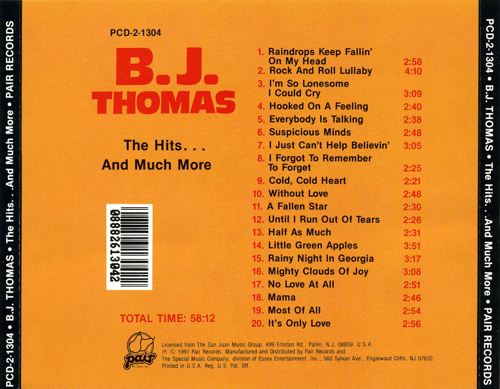 Music Of My Soul: B J Thomas-1991-The Hits    And Much More