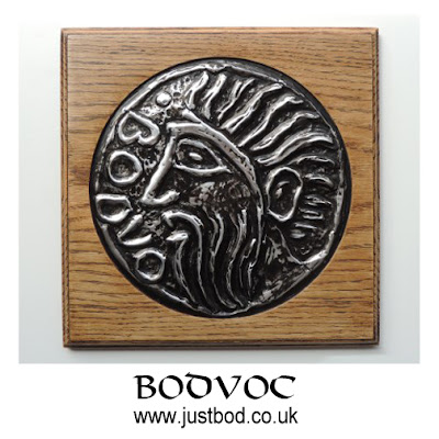 Bodvoc hand sculpted celtic coin plaque