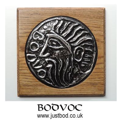 Bodvoc hand sculpted celtic coin plaque