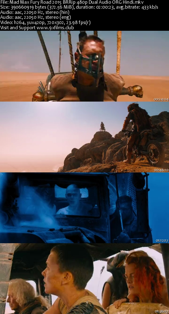 Mad Max Fury Road 2015 BRRip 480p Dual Audio Hindi