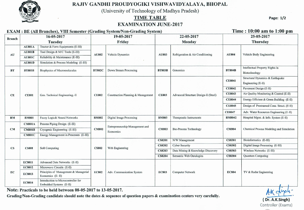rgpv b e 8th semester examination time table 2017 rajiv