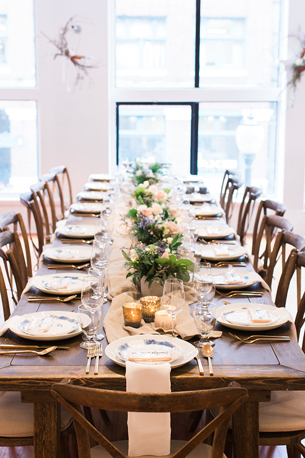 Intimate long table dinner designed by Susanna Stewart Events