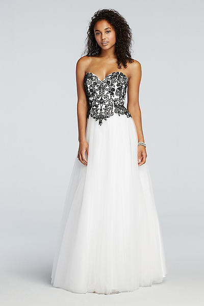 David's Bridal Signature Prom Dress Black White