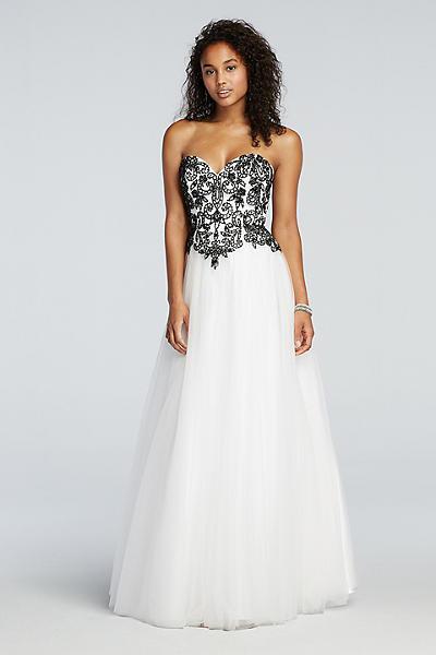 David's Bridal Signature Prom Dress Black White