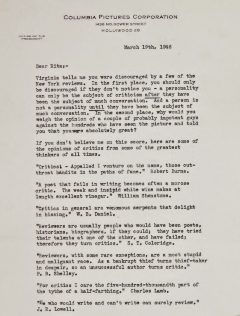 featured letter (harry cohn to rita hayworth)