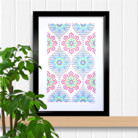 Pink and blue Ogival lattice flower repeat, prick and stitch on card embroidery pattern.