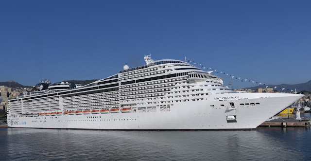 A view from the see of the impressive ship MSC Preziosa