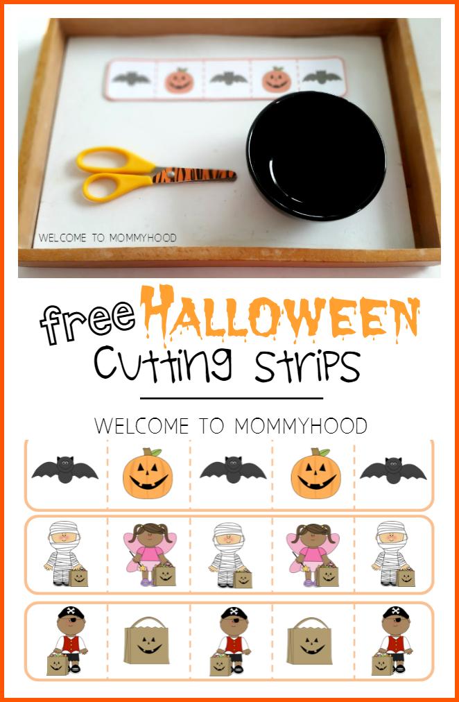 Halloween preschool activities: free cutting strips for preschoolers #preschoolactivities, #montessori, #homeschool, #homeschoolactivities, #totlabs