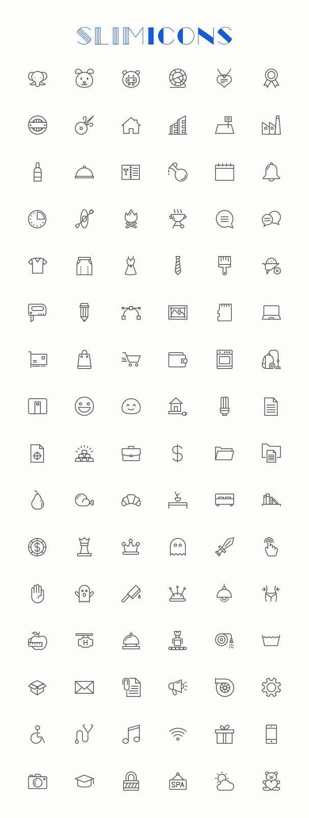 96 Free Minimalistic Line Vector Icons