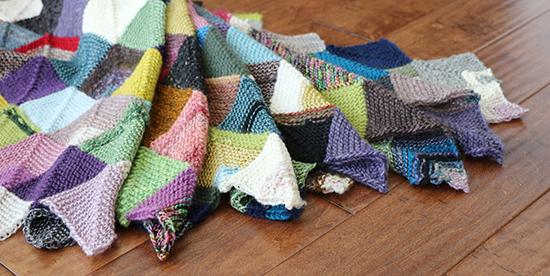 Detail of Knit Wool Mitered Square Scrap Blanket