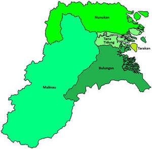 Peta letak kabupaten dan kota di  Provinsi Kalimantan Utara (Kalut)