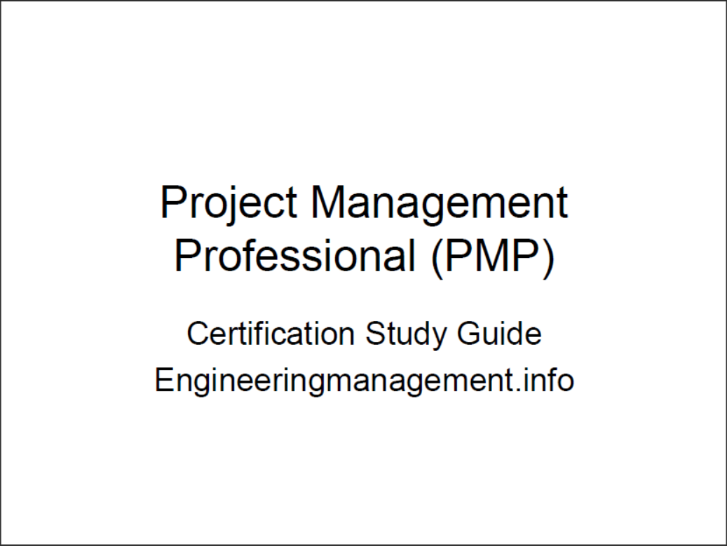 Project Management Professional Pmp Certification Study Guide