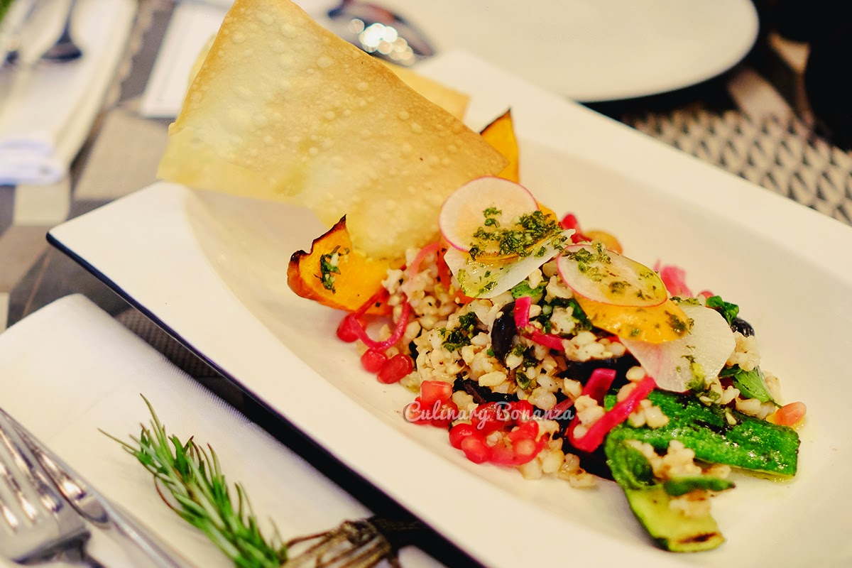 Orzo - barley, aubergine, pomegranate, grilled vegetables salad, evoo, red vinaigrette (source www.culinarybonanza.com)