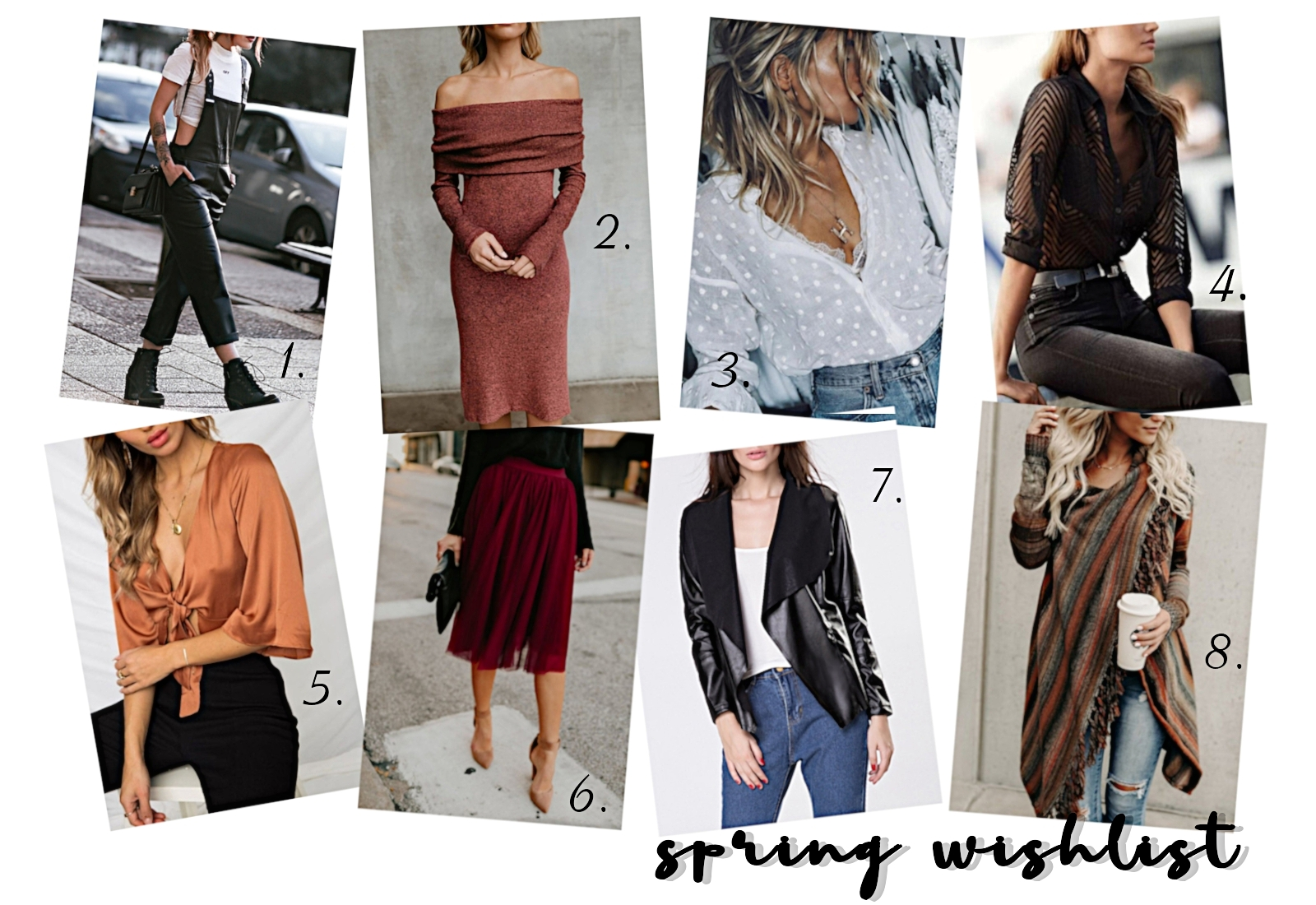 spring fashion collage featuring blouses, jumpsuit, dress and cardigan