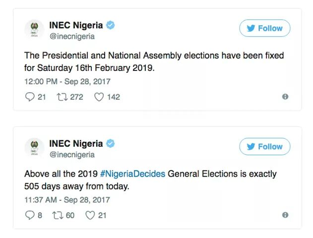 INEC fixes February 16, 2019 for the presidential and National Assembly elections