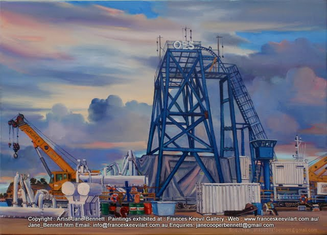 oil painting  of tug and barge at White Bay wharf by artist Jane Bennett