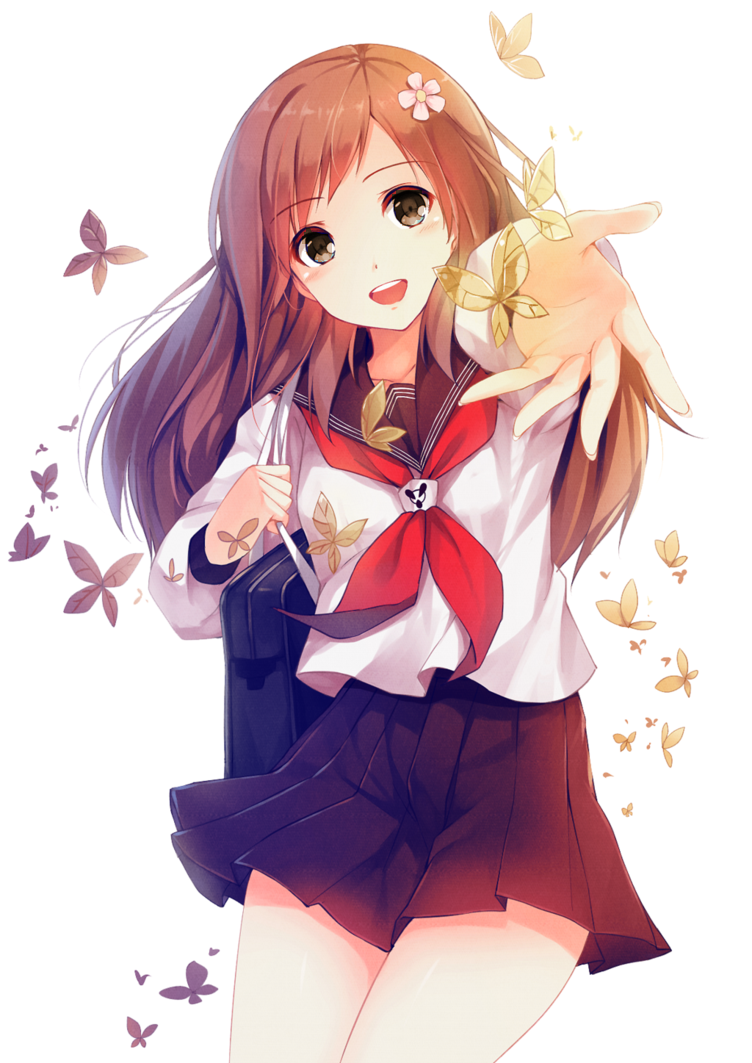 Have Cute anime girl transparent words