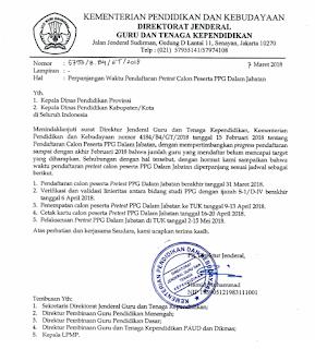 Surat Perpanjangan waktu pendaftaran PPG 2018