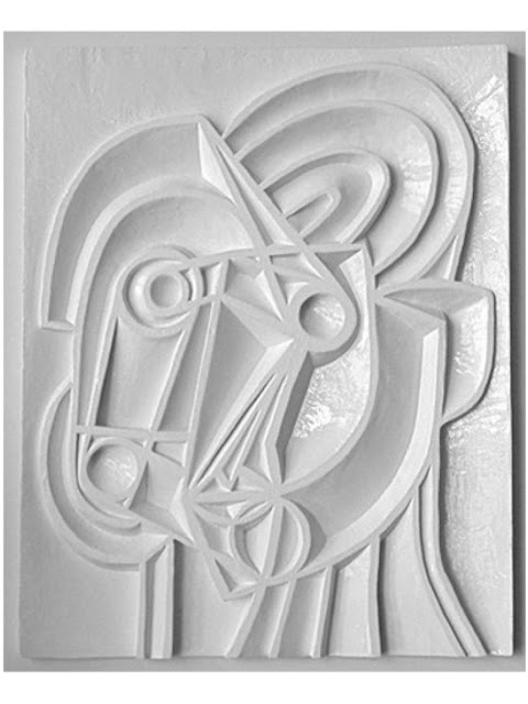 Graeme Mortimer Evelyn portrait relief sculpture white