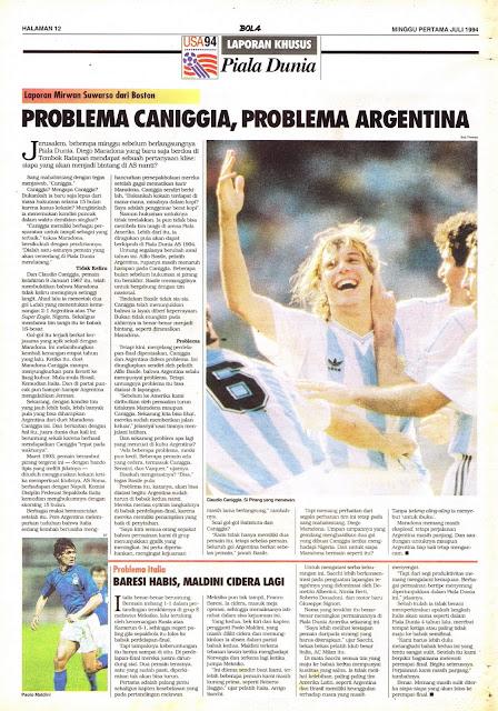 LAPORAN KHUSUS Piala Dunia USA 94 PROBLEMA CANIGGIA, PROBLEMA ARGENTINA