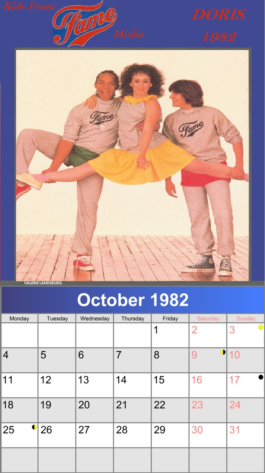 1982 Calendar Telugu.Kids From Fame Media Doris 1982 Calendar