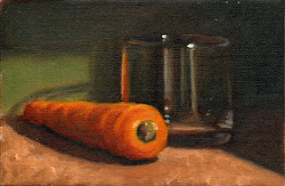 Oil painting of a carrot beside and Old Fashioned glass.
