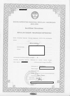 Gambar Piagam Akreditasi untuk diupload saat verval SP di Emis Pendis Kemenag