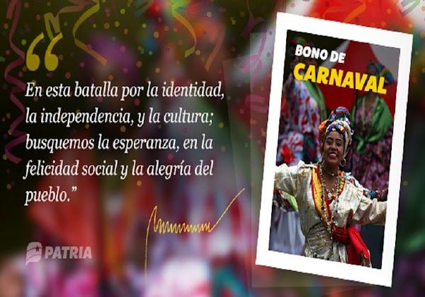 MONEDERO PATRIA: Comenzó entrega directa del Bono de Carnaval 2019