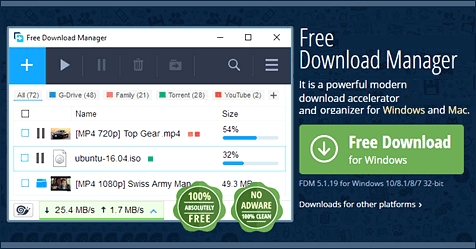 Free Download Manager, Windows, Mac